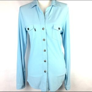 Koan Womens Blouse Light Blue Button Front Sz S